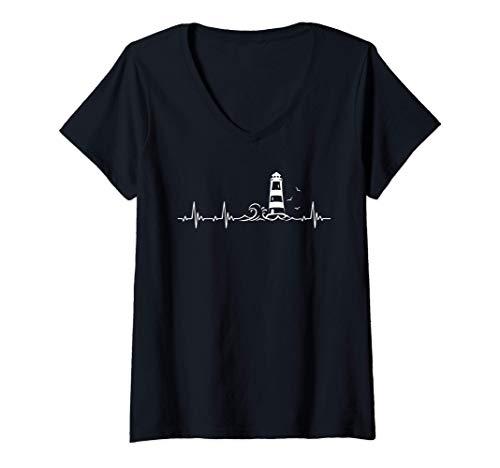 Damen Ostsee und Nordsee Leuchtturm Herzschlag T-Shirt mit V-Ausschnitt