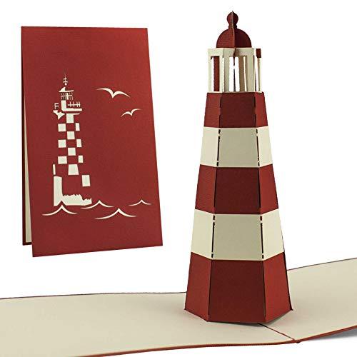 Karte als Gutschein oder Souvenir, ein Geschenk von der Nord- oder Ostsee, Pop-Up Karte, rot, B07