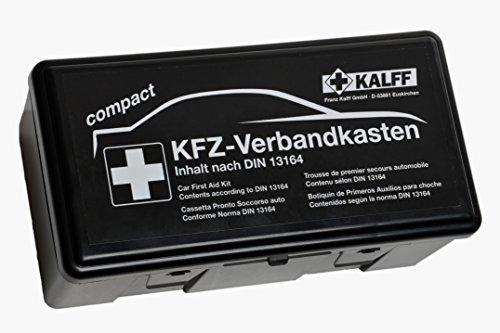 KALFF 23503 Auto Verbandskasten Kompakt Din 13164, Kfz Erste Hilfe Set, Box für Kofferraum, Notfall Zubehör für Pkw, Motorrad, Schwarz
