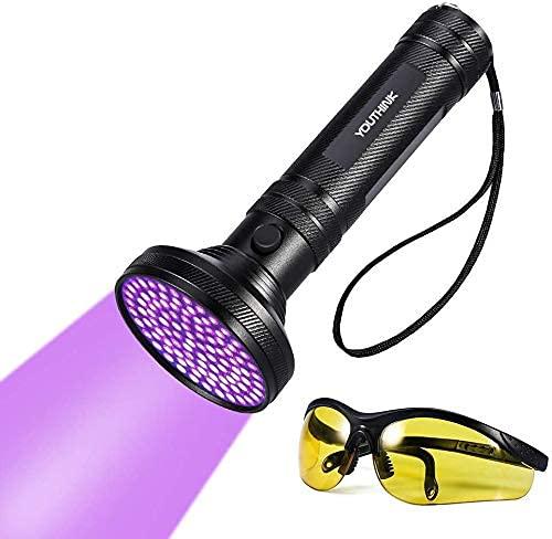 YOUTHINK UV Taschenlampe Schwarzlicht 100 LEDs 395nm Ultraviolet Lampe mit UV-Schutzbrille Mini Ultraviolett Licht Urin detektor für Hunde & Katzen, Bernstein,Fleck auf Teppichen, Gardinen, Mbel