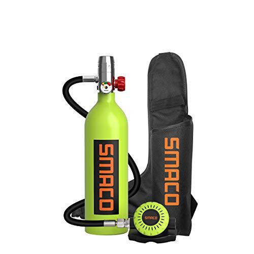 SMACO Mini Tauchflasche Sauerstoffflasche Taucherflasche Mini zum tauchen Mit 15 Bis 20 Minuten Tauchen Sauerstofftank Taucher Set Tauchausrüstung Tragbare 1L S400(10 Tage Lieferung)