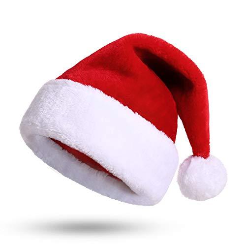 KONVINIT Weihnachtsmütze Nikolausmütze Plüsch Rand Weihnachtsfeier Rot Santa Mütze Nikolaus Dicker Fellrand aus Plüsch kuschelweich & angenehm Für Erwachsene by