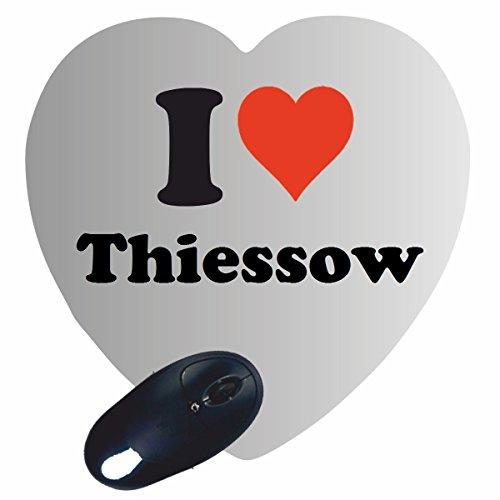 Herz Mauspad 'I Love Thiessow' in Weiss, eine tolle Geschenkidee die von Herzen kommt  Rutschfestes Mousepad   Geschenktipp: Weihnachten Jahrestag Geburtstag Lieblingsmensch