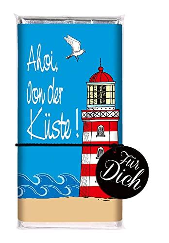 STEINBECK Schokolade Küste Vollmilch 100g Tafel Ahoi Geschenk Urlaub Ostsee Nordsee Mitgebsel Leuchtturm Seehund Robbe