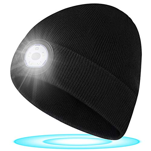 Geschenke für Männer Mütze mit LED Licht - Weihnachten Wichtelgeschenk LED Mütze mit Licht, Nikolaus Geschenke für Frauen und Männer, Wiederaufladbar Waschbare LED Mütze für Fischen, Laufen, Radfahren