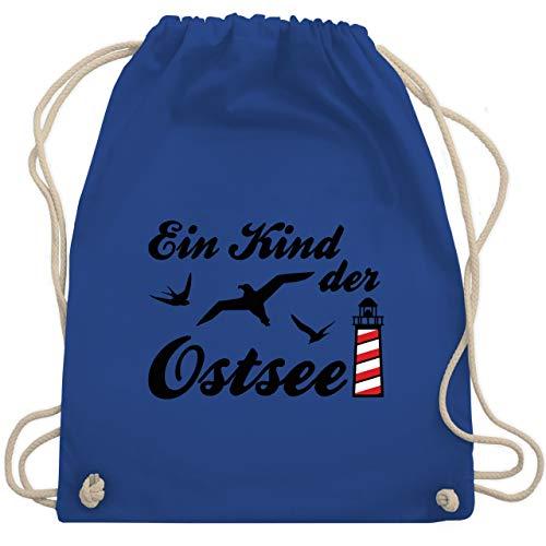 Shirtracer Sprüche Statement mit Spruch - Kind der Ostsee Leuchtturm - Unisize - Royalblau - WM110 - WM110 - Turnbeutel und Stoffbeutel aus Baumwolle