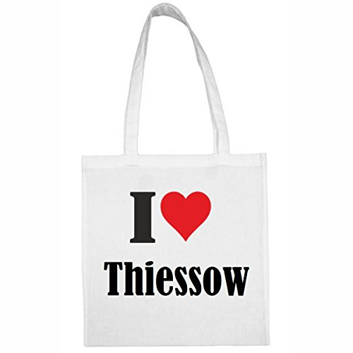 Tasche I Love Thiessow Größe 38x42 Farbe Weiss Druck Schwarz
