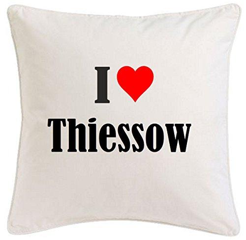 Kissenbezug I Love Thiessow 40cmx40cm aus Mikrofaser geschmackvolle Dekoration für jedes Wohnzimmer oder Schlafzimmer in Weiß mit Reißverschluss