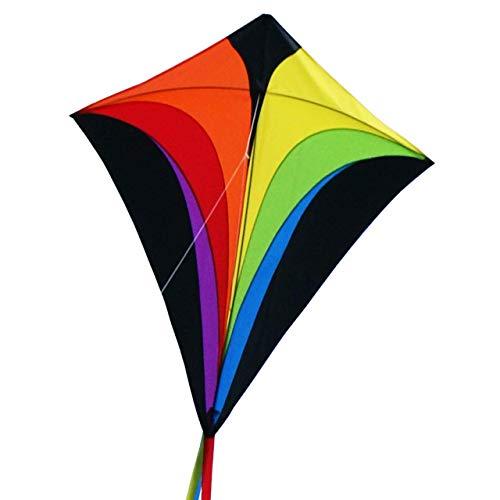 CIM Großer Kinder-Drachen - SUPER-Drachen Eddy XL Rainbow - Einleiner Flugdrachen für Kinder ab 6 Jahren - 90x100cm - inkl. Drachenschnur und Streifenschwänze