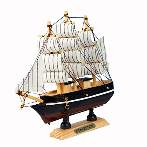 Holz Segelboot Modell, 24CM Segelschiff Dekoration Modell Mediterraner Stil, für Geschenke und Schreibtisch Deko (Zufällige Farbe)