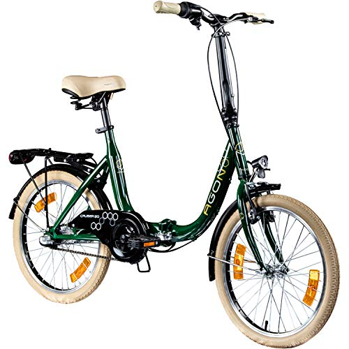 AGON Klappfahrrad 20 Zoll Faltrad Klapprad Fahrrad Cruiser 20' StVZO Beleuchtung (grün)