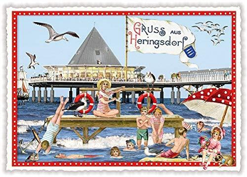 Nostalgische Ansichtskarte mit Glitzer * Gruß aus Heringsdorf