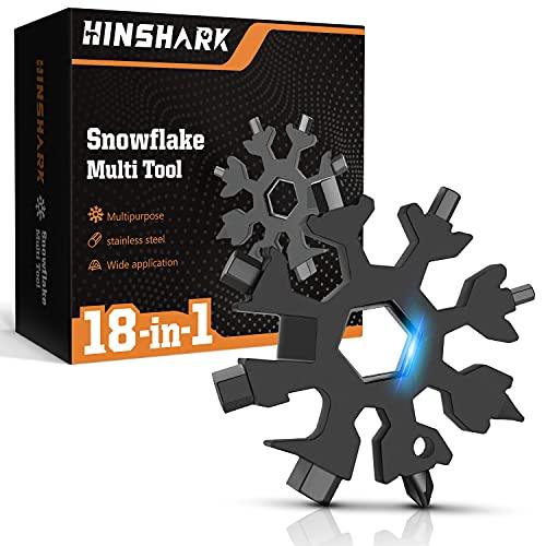 Hinshark Geschenke für Männer - 18-in-1 Schneeflocken Multi-Tool, Adventskalender Männer 2021, Gadgets für Männer, Weihnachtsgeschenke, Coole Werkzeug Kleine Geschenk für Papa, Mann, Frauen(Schwarz)