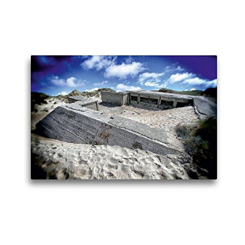 CALVENDO Premium Textil-Leinwand 45 x 30 cm Quer-Format Bunker Houvig Strand, Dänemark, Leinwanddruck von Andre Bruhnke