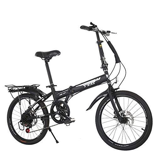 OFAY Unisex Faltrad 20 Zoll Klapprad Klappfahrrad Leicht Und Robust 6 Gang Freilauf Kettenschaltung Erwachsene Bikes Werkzeugfrei Zusammenfaltbares Fahrrad Einfaches Transportieren,Schwarz