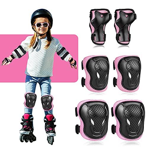 Lineluck Knieschoner Kinder Set 6 in 1, Protektoren Kinder, Schutzausrüstung Kinder Verstellbar Knieschützer Ellbogenschützer Handgelenkschoner Set für Inliner Skateboard Radfahren Roller Skating