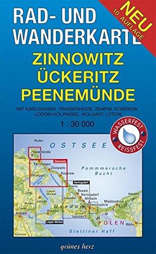 Rad- und Wanderkarte Zinnowitz, Ückeritz, Peenemünde: Mit Karlshagen, Trassenheide, Kölpinsee, Loddin, Ückeritz. Maßstab 1:30.000. Wasser- und reißfest.