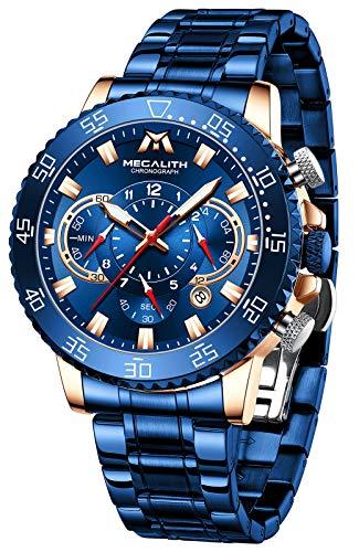 MEGALITH Herrenuhr Chronograph Herren Armbanduhr Edelstahl Blau Uhr Herren Groß Wasserdicht Analog Uhren fur Männer Leuchtend Kalender Männer Geschenk -Blau