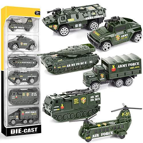 YIMORE Metall Militärfahrzeuge Spielzeug Fahrzeug Legierung Auto Modelle Gepanzertes Fahrzeug für Kinder 3 4 5 6, 6pcs