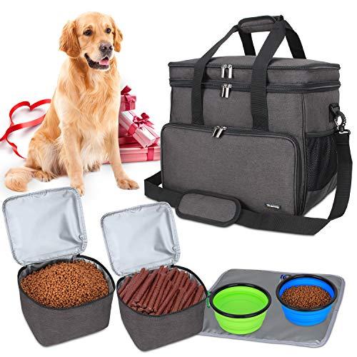 Teamoy Reisetasche für Hundeausrüstung, Hundetasche für die Mitnahme von Tiernahrung, Leckereien, Spielzeug und andere wichtige Dinge, ideal für Reisen, Camping oder Tagesausflüge (Groß, schwarz)