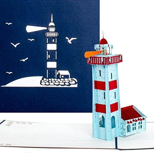 Pop-Up Karte 'Leuchtturm' – Maritime 3D Geburtstagskarte & Grußkarte als Reisegutschein, kleines Geschenk oder Urlaubsgruß von Ostsee, Nordsee …