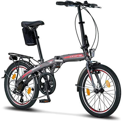 Licorne Bike Phoenix, 20 Zoll Aluminium-Faltrad-Klapprad, Faltfahrrad-Herren-Damen, 7 Gang Kettenschaltung - Folding City Bike, Alu-Rahmen, Abdeckung, StVZO, Vorderlampe, Hinterlampe