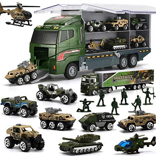 LYKJ-COLORS 26 in 1 Militär Autos + Transportfahrzeug Set, Militärfahrzeuge Soldaten Druckguss Modelle, Spielzeugautos Aufbewahrung in LKW Truck, Armee Fahrzeuge Spielzeug für Kinder Mädchen Junge