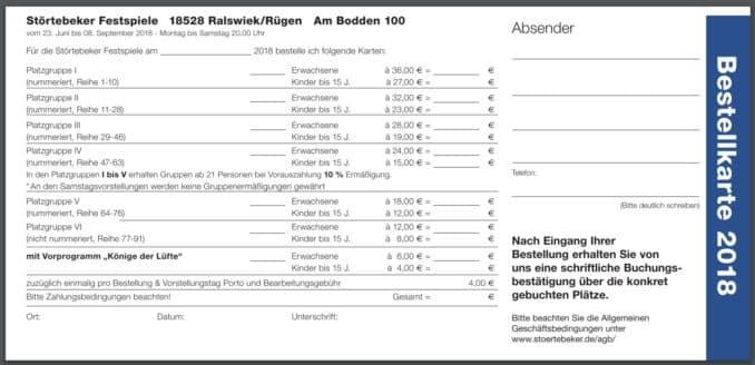 Bestellkarte Störtebeker Festspiele
