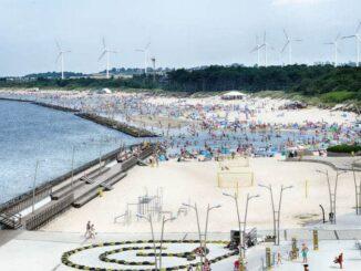 Blick über den Strand von Darlowo