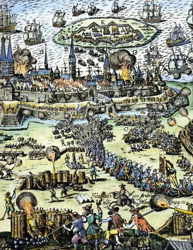 Belagerung Stralsunds durch Wallenstein 1628, nachträglich kolorierter Kupferstich