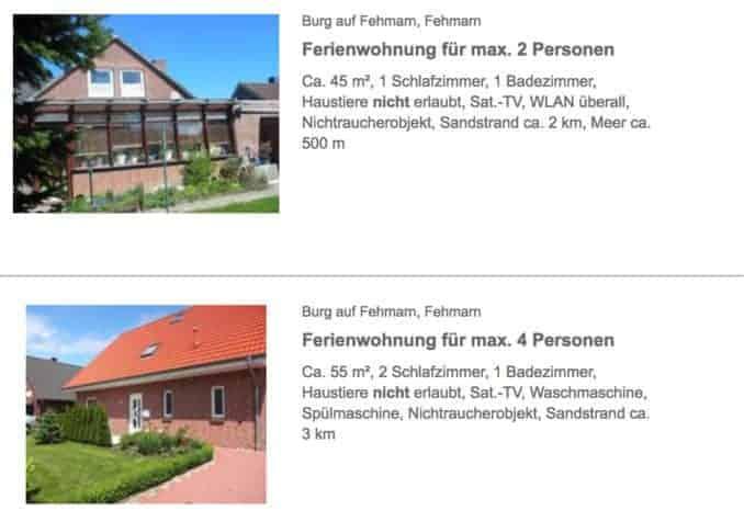 Ferienwohnungen und Ferienhäuser Fehmarnsund