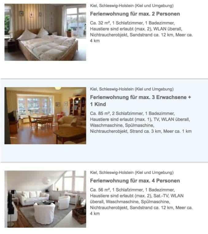 Ferienhäuser Ferienwohnung Kiel