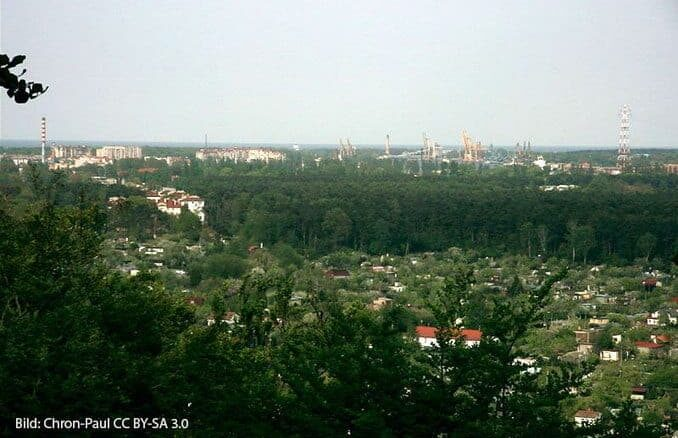 Aussicht vom Burgwall Golm nach Swinemünde